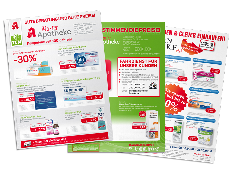 individuelle Preisflyer / Handzettel für Apotheken