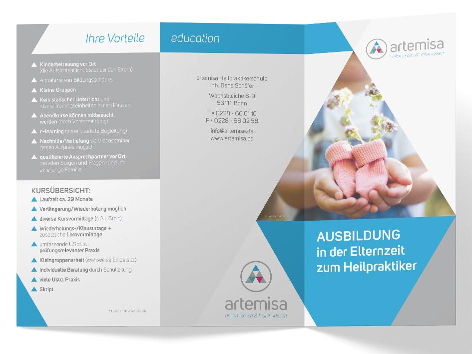 6-seitiger Faltflyer artemisa Heilpraktikerschule